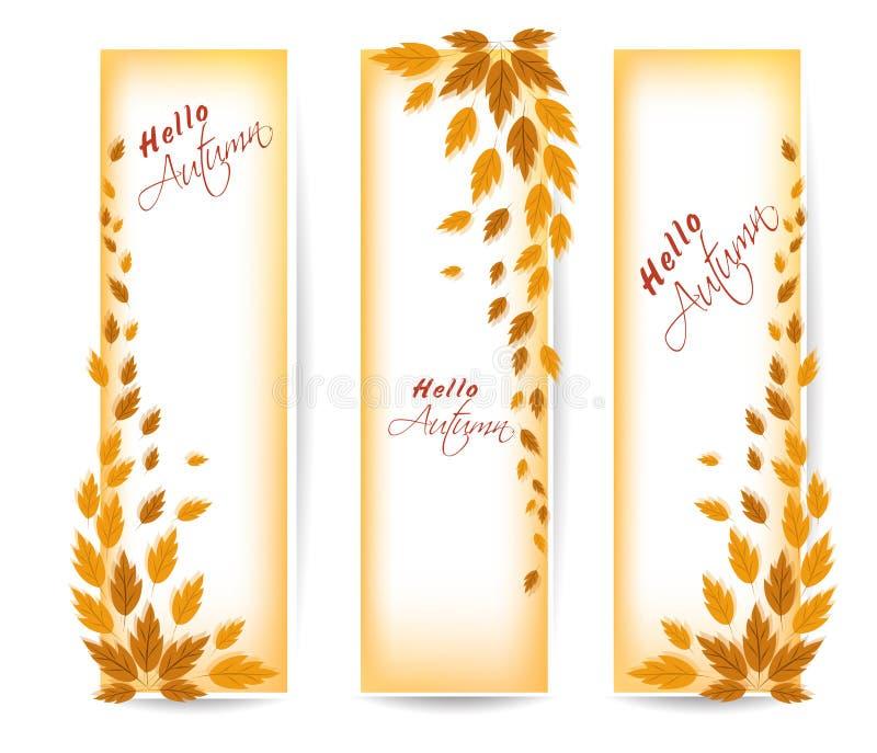 Trois bannières d'automne avec le vecteur coloré de feuilles illustration stock
