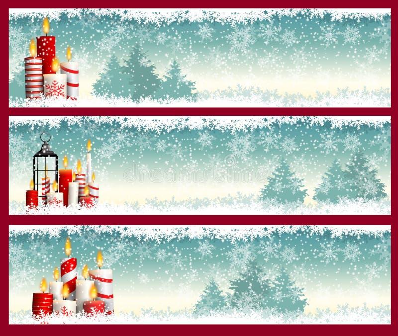 Trois bannières de Noël avec des bougies et des flocons de neige illustration stock