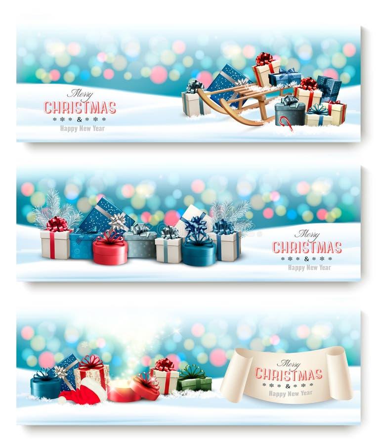 Trois bannières de Noël de vacances avec les présents et la boîte magique illustration de vecteur