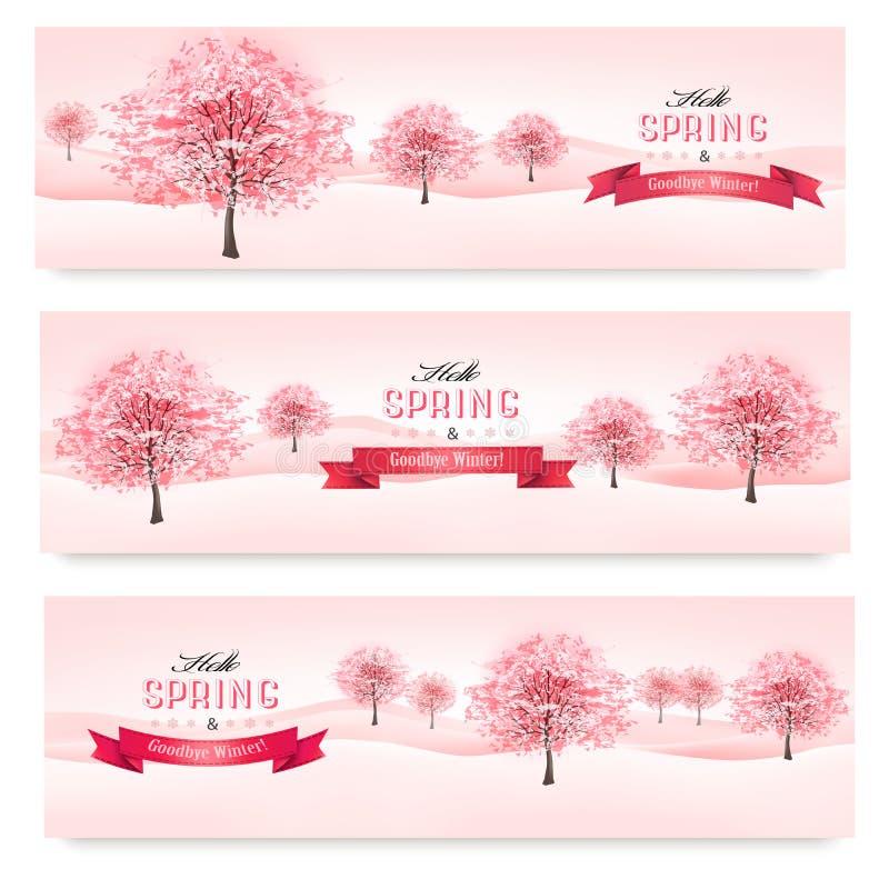 Trois bannières de ressort avec les arbres de floraison de Sakura. illustration libre de droits