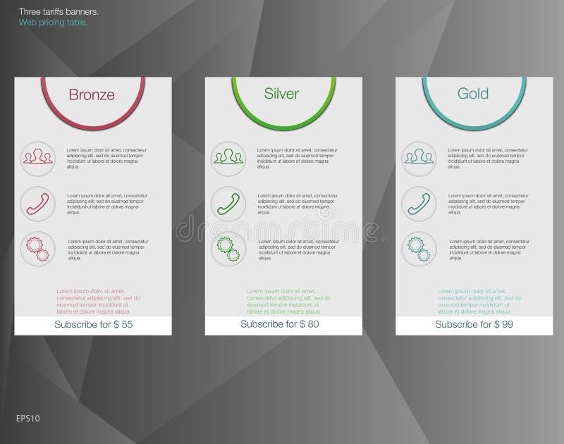 Trois bannières de tarifs Conception de vecteur pour le Web APP Tarifs réglés d'offre Listes des prix illustration stock