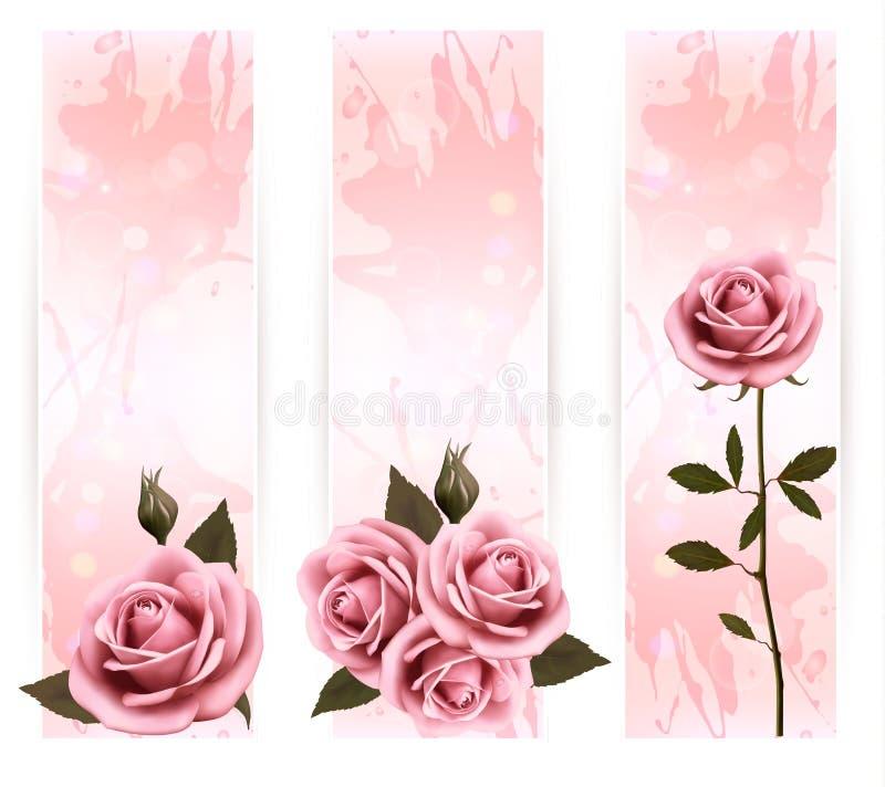 Trois bannières de vacances avec de belles roses roses. illustration de vecteur