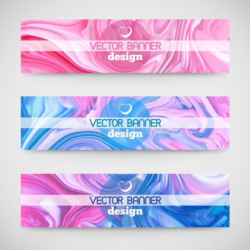 Trois bannières horizontales colorées Texture de marbre illustration libre de droits