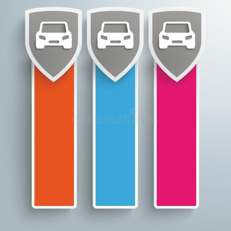 Trois bannières oblongues colorées de voitures de boucliers de protection illustration de vecteur