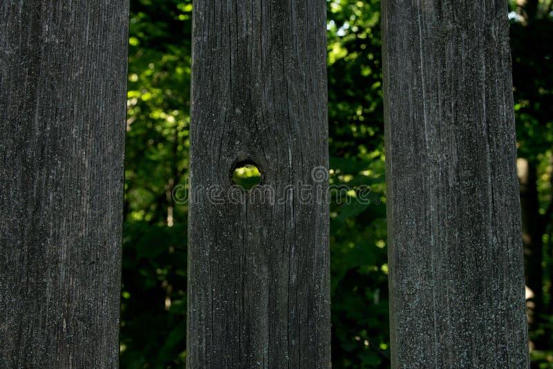 Trois barrière en bois et un avec un trou image libre de droits
