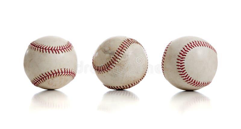Trois base-ball sur le fond blanc photo stock