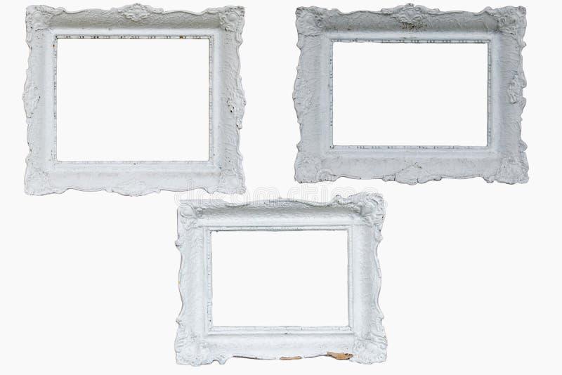 Trois beaux cadres baroques blancs photo stock