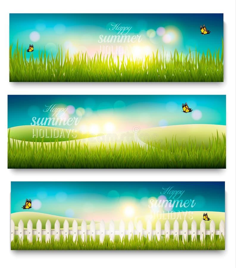 Trois belles bannières de paysage de pré d'été illustration libre de droits