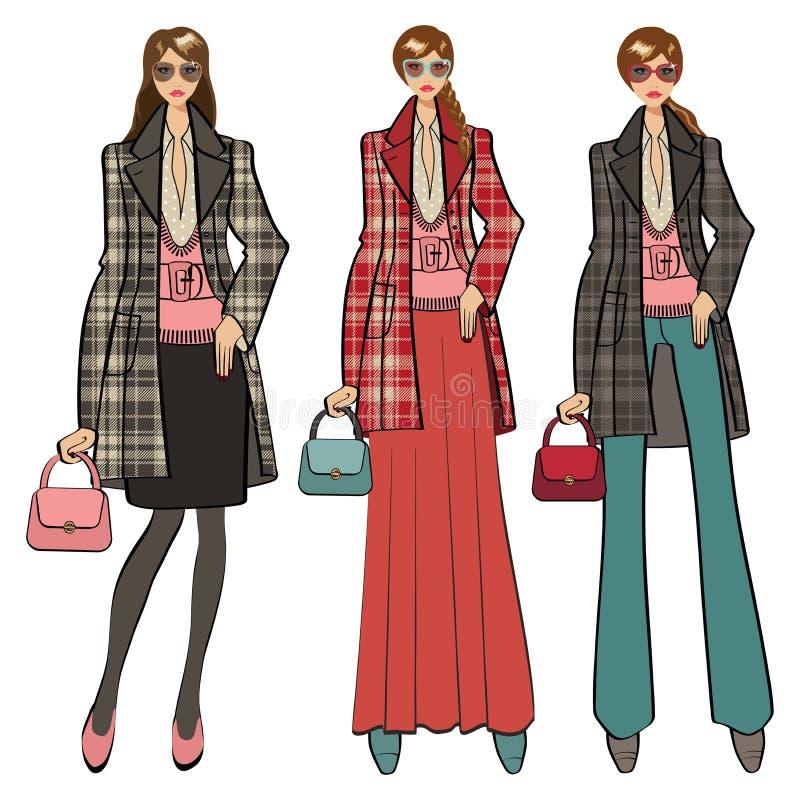 Trois belles filles à la mode Illustration de mode illustration stock