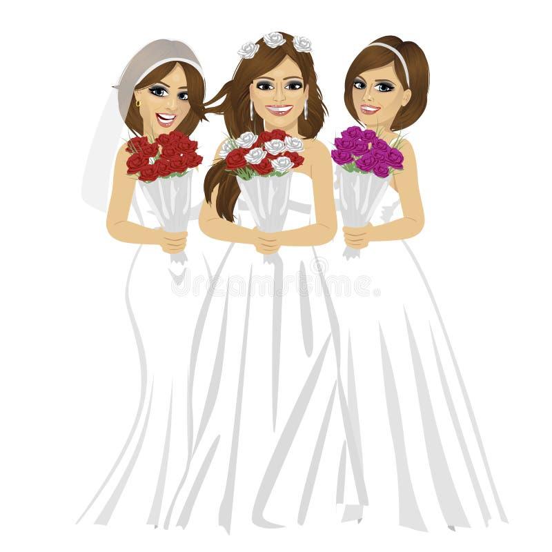 Trois belles jeunes mariées portant la jeune mariée différente habille la pose avec le bouquet des roses illustration libre de droits