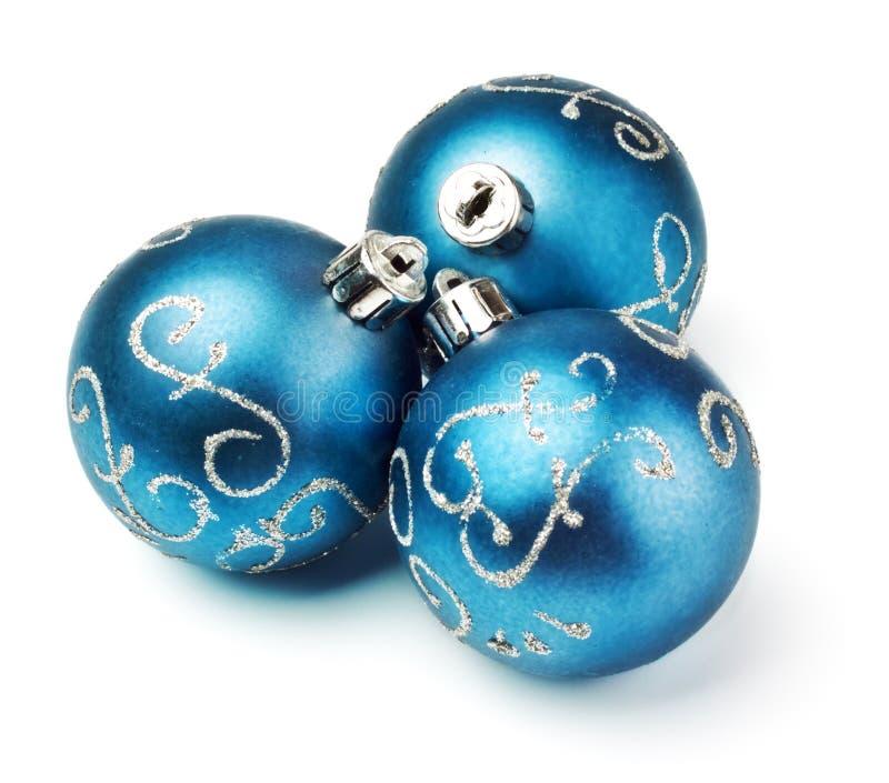 Trois billes bleues de décoration image libre de droits