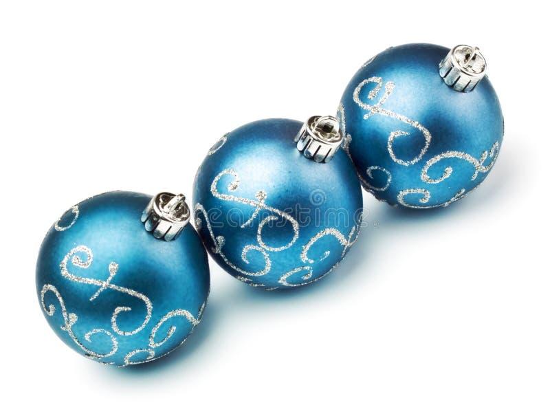 Trois billes bleues de décoration photo stock