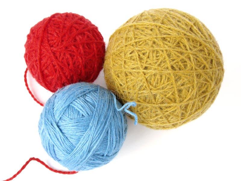 Trois billes de laines photo stock
