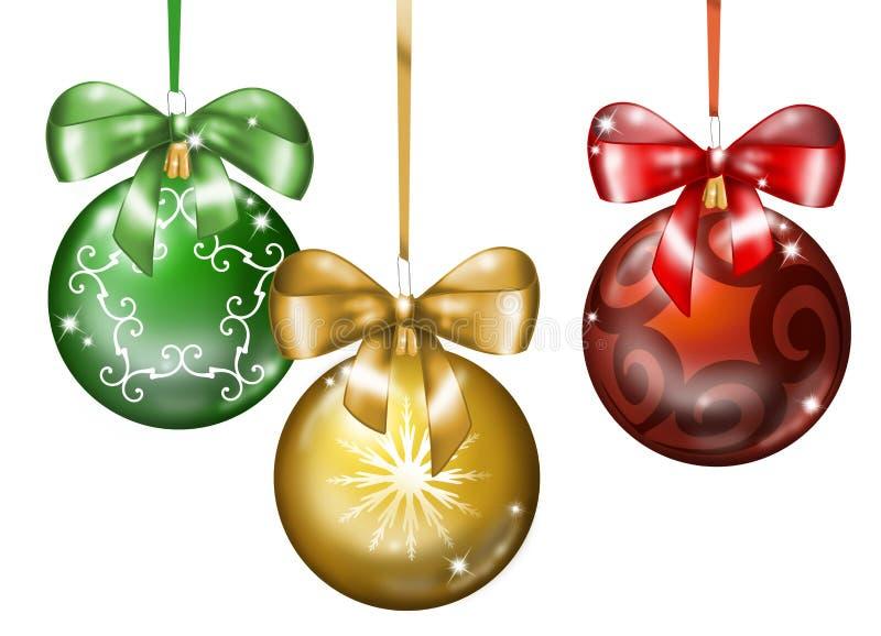 Trois billes de Noël illustration stock