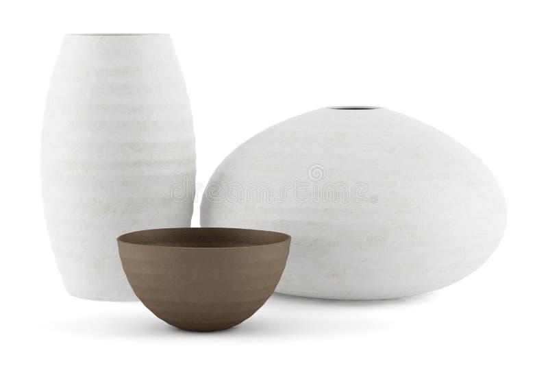 Trois blancs et vases en céramique bruns d'isolement sur le blanc illustration libre de droits