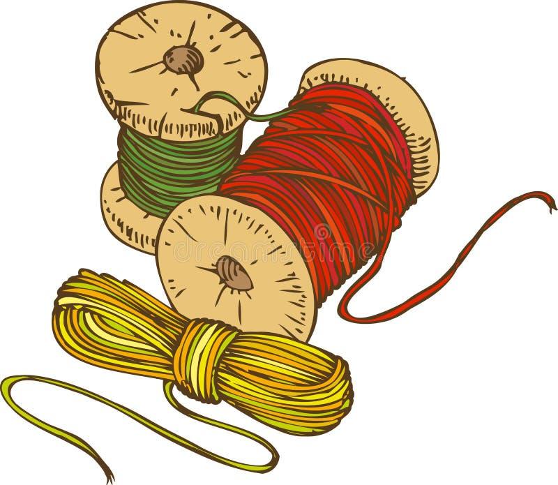 Trois bobines de couleur de fil illustration stock