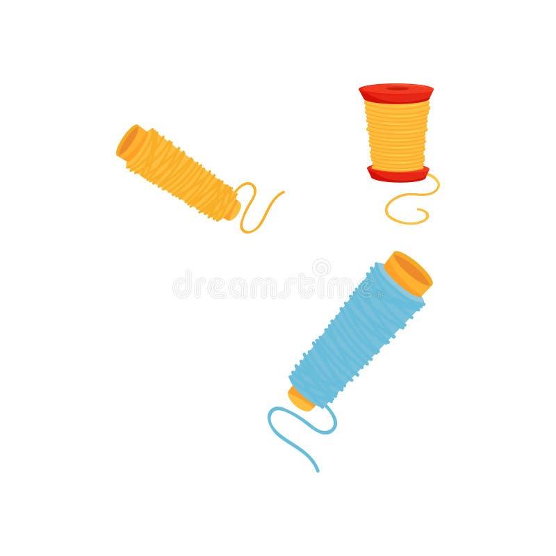 Trois bobines des fils colorés Matériel pour la couture Élément plat de vecteur pour l'affiche ou la bannière du magasin de coutu illustration de vecteur