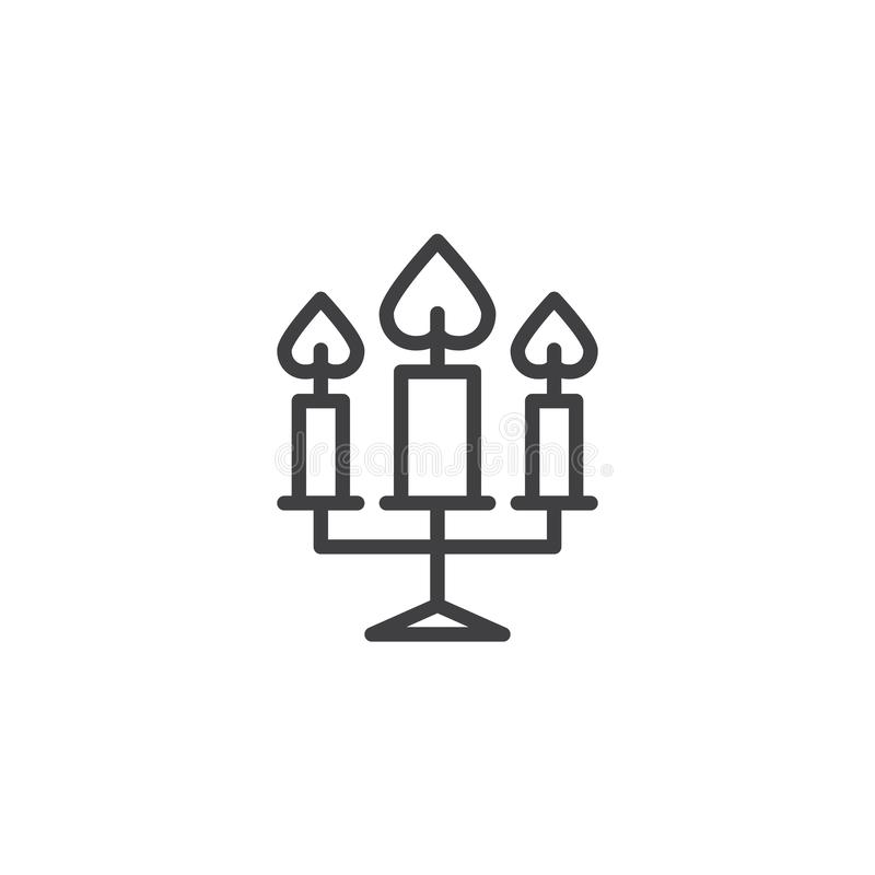 Trois bougies brûlant la ligne icône illustration stock