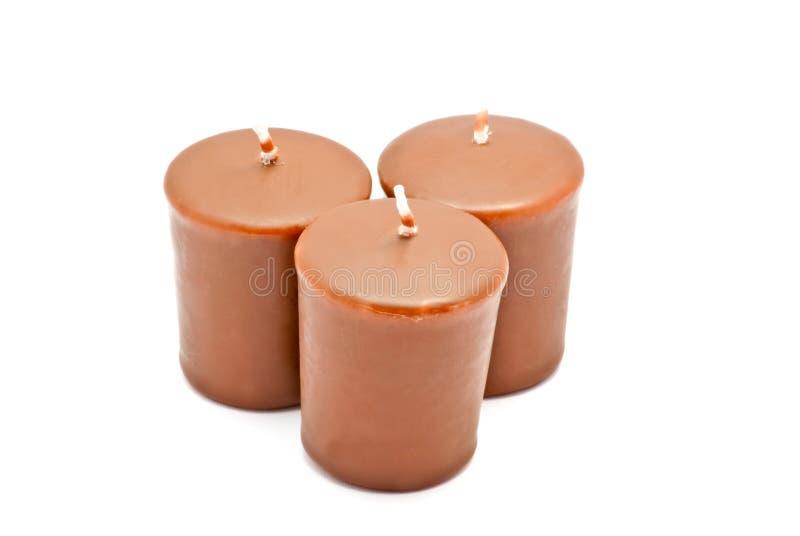 Trois bougies de chocolat photos libres de droits