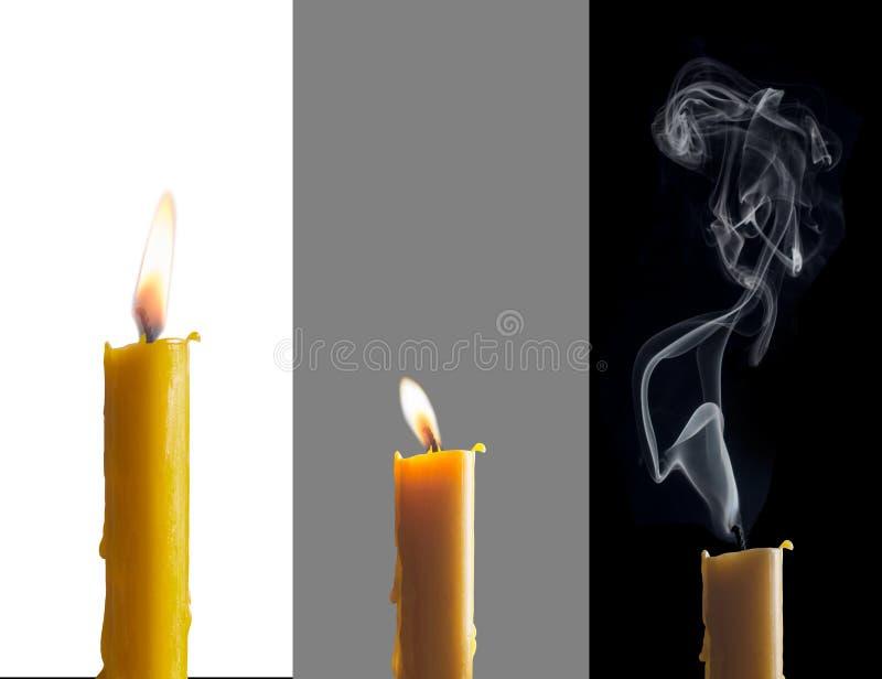 Trois bougies de phases images libres de droits