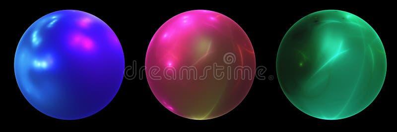 Trois boules de fractale dans des couleurs lumineuses sur le fond noir illustration de vecteur