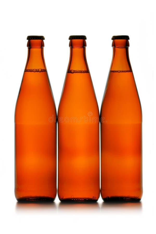 Trois bouteilles à bière dans une ligne image libre de droits
