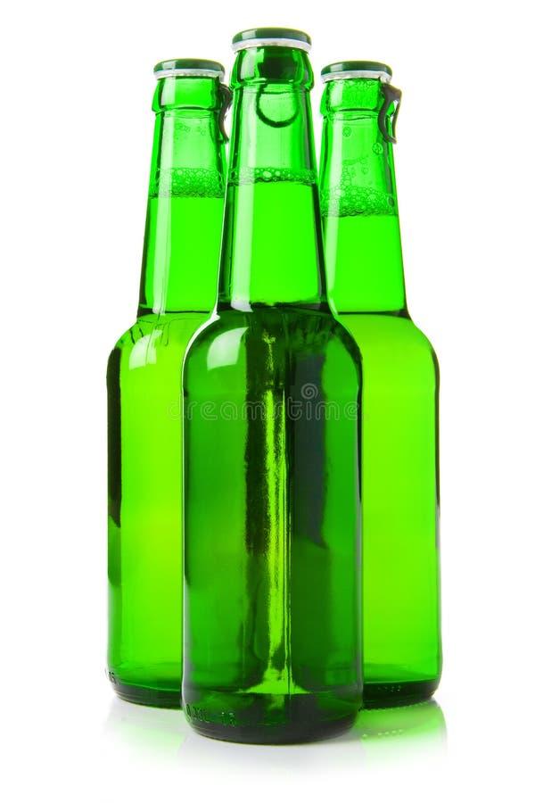 Trois bouteilles à bière vertes images libres de droits