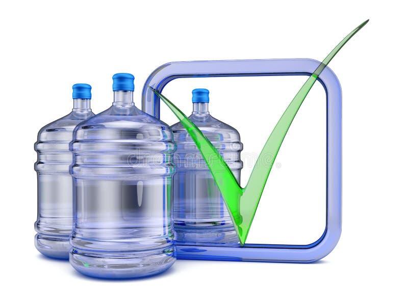 Trois bouteilles avec de l'eau illustration de vecteur