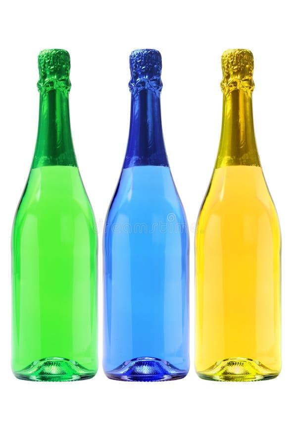 Trois bouteilles de boissons carbonatées photos stock