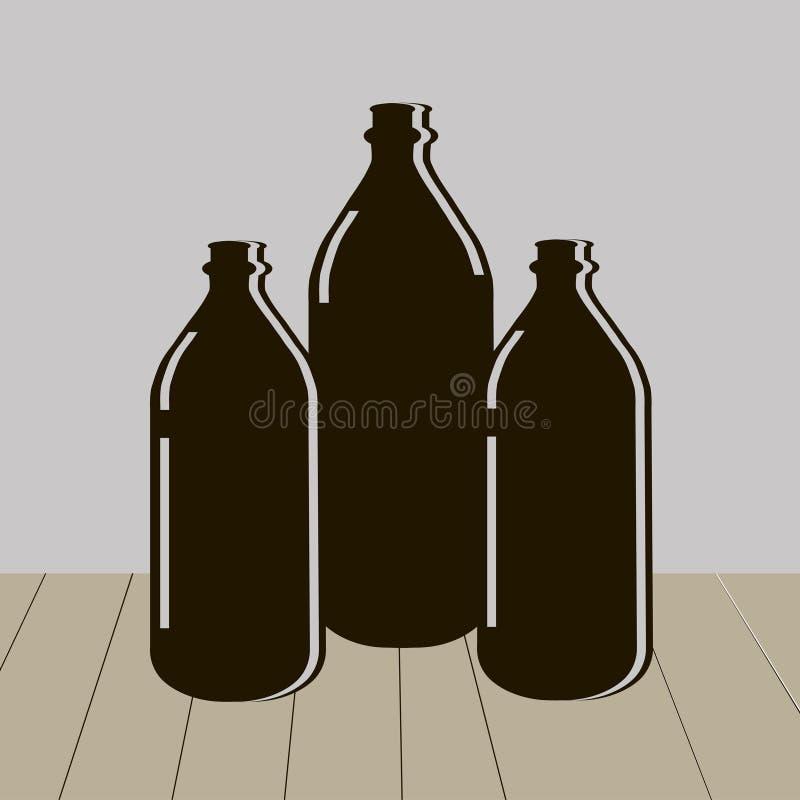 Trois bouteilles de l'eau illustration libre de droits