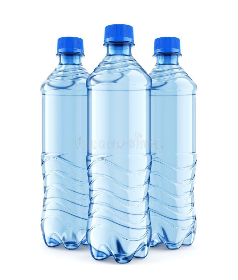 Trois bouteilles en plastique de l'eau immobile avec le chapeau bleu illustration de vecteur