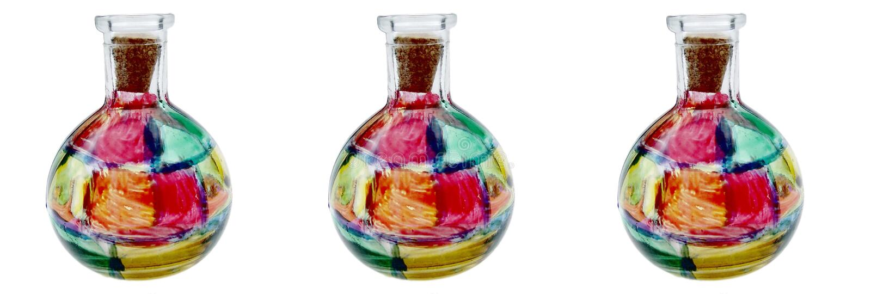Trois bouteilles en verre souillées image stock