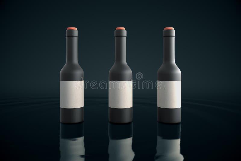 Trois bouteilles sur l'eau illustration stock