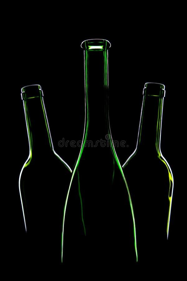 Trois bouteilles vertes vides photos libres de droits
