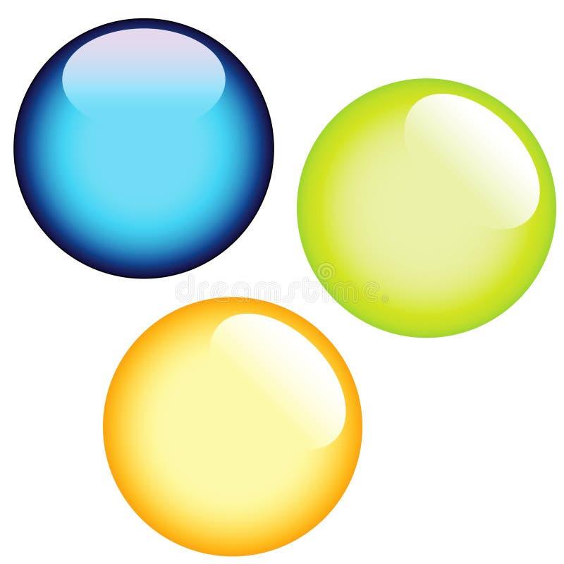 Trois boutons en verre illustration libre de droits