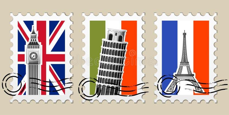 Trois cachets de la poste avec des vues de l'Europe illustration de vecteur