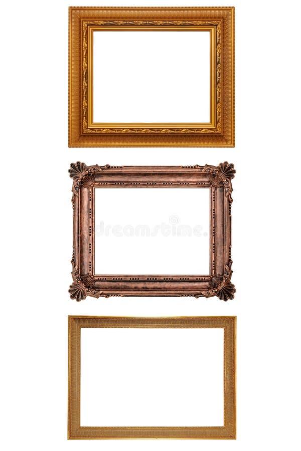 Trois cadres de tableau antiques photographie stock libre de droits