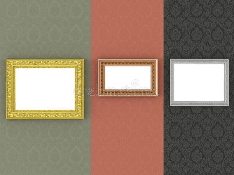 Trois cadres de tableau d'or sur le papier peint de cru illustration libre de droits