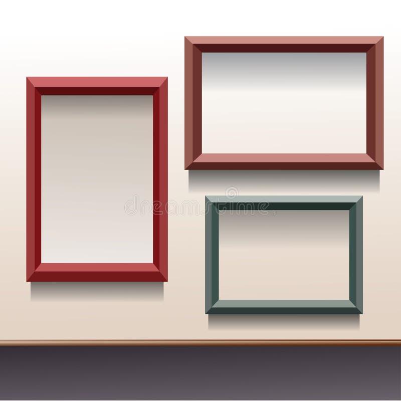 Trois cadres de vecteur dans différentes couleurs illustration stock