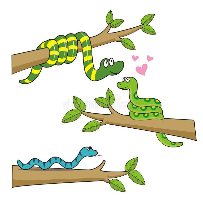 Trois caractères mignons de serpents sont dans l'amour illustration stock
