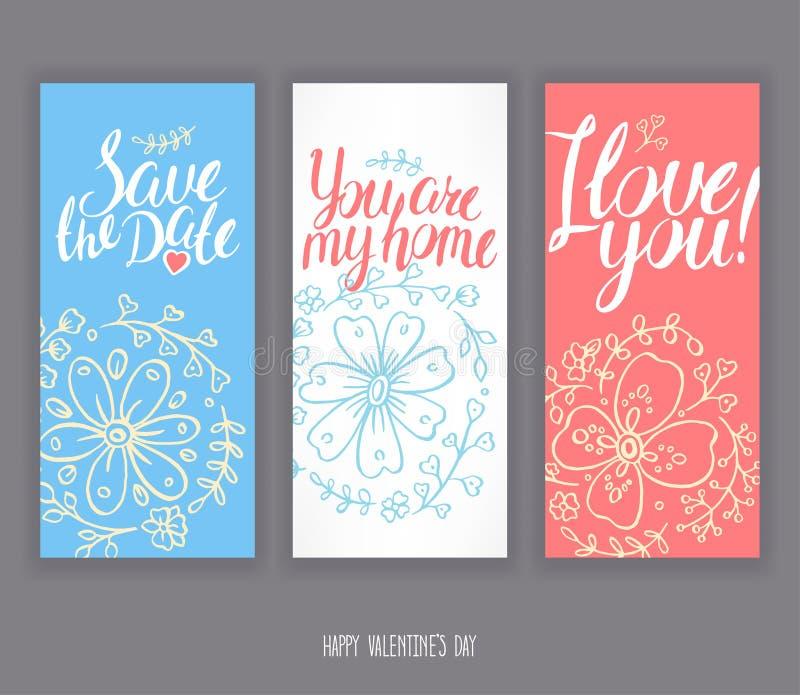 Trois cartes de voeux pour la Saint-Valentin illustration libre de droits