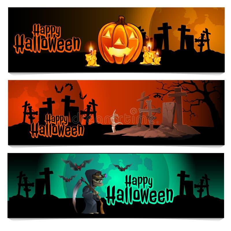 Trois cartes horizontales sur le thème des vacances de Halloween Illustration de vecteur illustration de vecteur