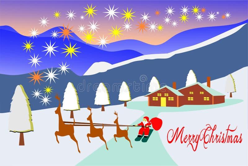 Trois cerfs communs traînent Santa Car aux étoiles Il y a les maisons et les montagnes brunes comme fond illustration stock