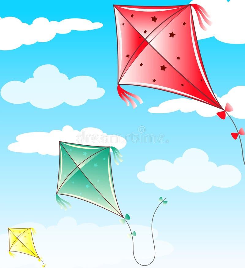 Trois cerfs-volants volant en ciel bleu illustration libre de droits
