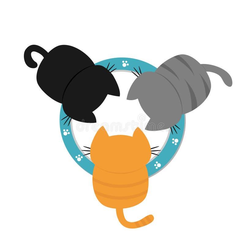 Trois chatons buvant mangeant du lait du plat de cuvette Paw Print Pattern Famille drôle d'animal de minou de bébé de kawaii Conc illustration de vecteur