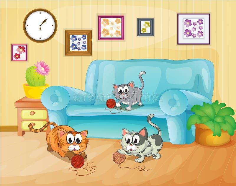 Trois chats jouant à l'intérieur de la maison illustration de vecteur