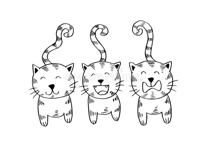 Trois Chats Type De Dessin Animé Illustration De Vecteur