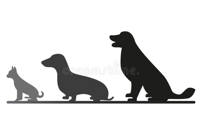 Trois chiens se reposants derrière l'un l'autre illustration libre de droits