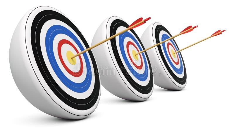 Trois cibles ont heurté avec le projectile de centre de la cible illustration stock