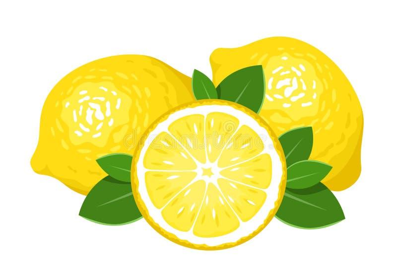 Trois citrons d'isolement sur le blanc. illustration stock